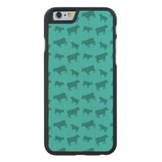 Turquoise cow pattern carved® maple iPhone 6 slim case