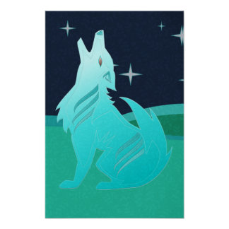 Turquoise Coyote Poster
