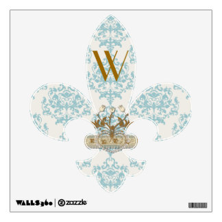 Turquoise & Cream Damask Fleur De Lis Wall Decal