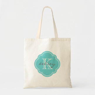 Turquoise Custom Personalized Monogram Budget Tote Bag