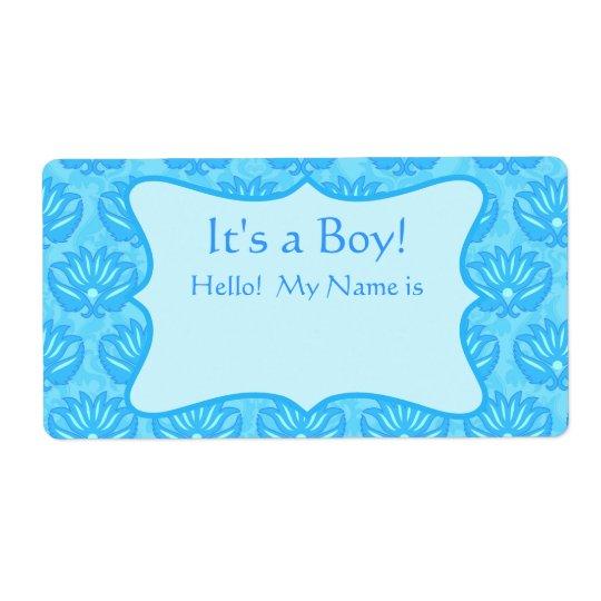 Turquoise Damask Boy Baby Shower Custom Name Tag