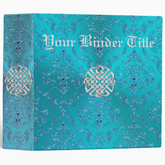 Turquoise Damask Celtic Knot 3 Ring Binders