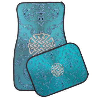 Turquoise Damask Celtic Knot Car Liners