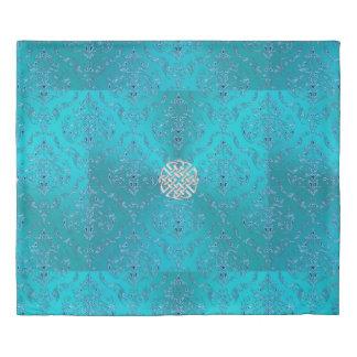 Turquoise Damask Celtic Knot Duvet Cover