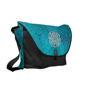 Turquoise Damask Celtic Knot Messenger Bags