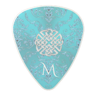 Turquoise Damask Celtic Knot Polycarbonate Guitar Pick