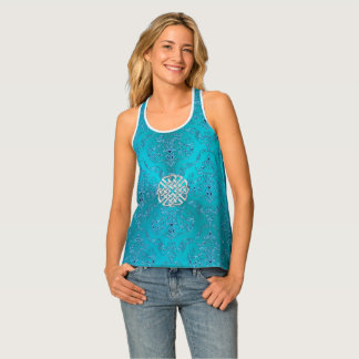 Turquoise Damask Celtic Knot Tank Top