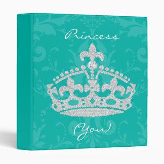Turquoise Damask Diamond Princess Crown Binder