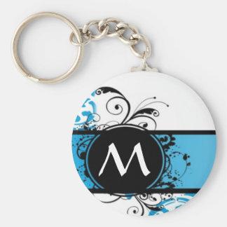 Turquoise damask monogrammed keychain