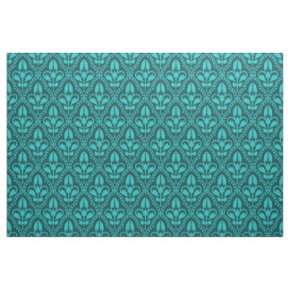 Turquoise Damask Pattern Fabric