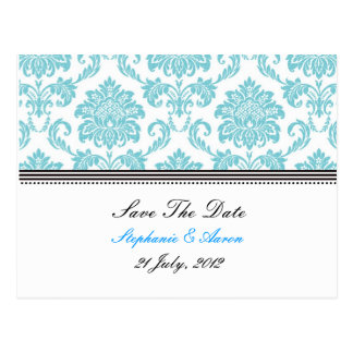 Turquoise Damask Save The Date Postcard