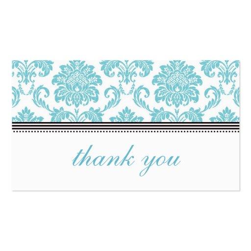 Turquoise Damask Thank You Card Zazzle