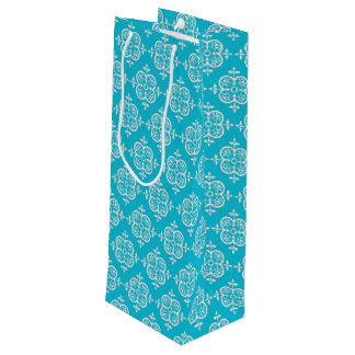 Turquoise Damask Wine Gift Bag