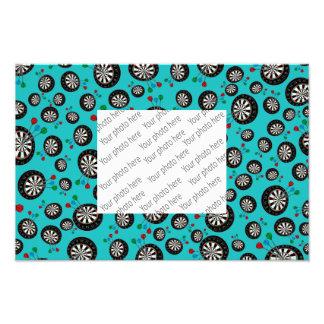 Turquoise dartboard pattern photographic print