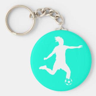 Turquoise de Keychain de silhouette du football Porte-clés