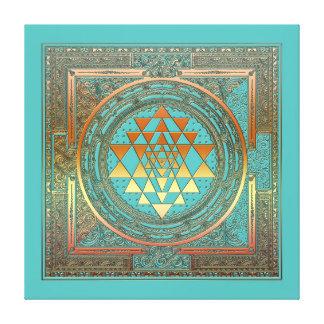 turquoise de symbole d'or de chakra de manala de toiles