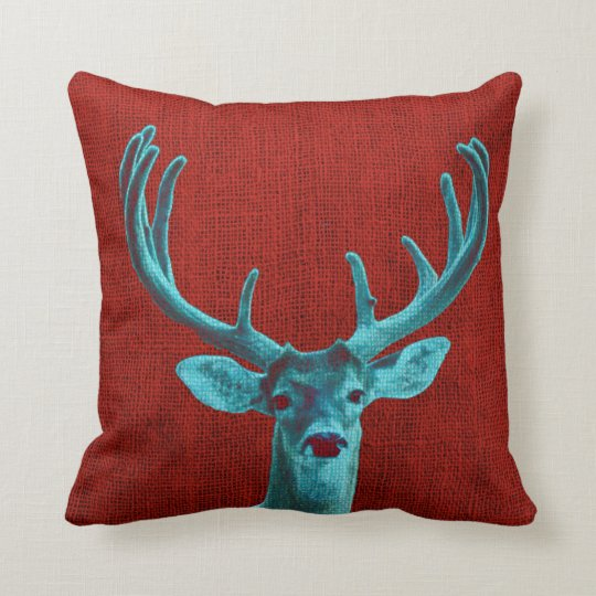 Turquoise Deer and Rustic Red Throw Pillow