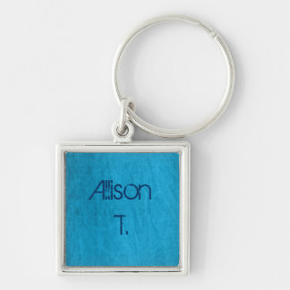 turquoise denim Silver-Colored square keychain