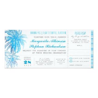 "turquoise destination wedding tickets 4"" x 9.25"" invitation card"