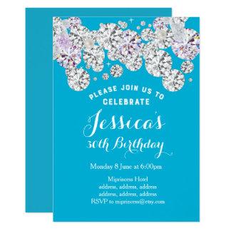 Turquoise diamond, glitter birthday invitation