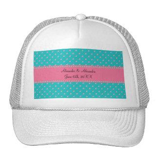 Turquoise diamonds wedding favors trucker hat