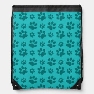 Turquoise dog paw print drawstring backpack