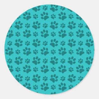 Turquoise dog paw print pattern classic round sticker