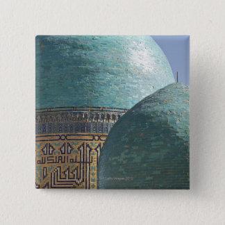 Turquoise domes, Shahr i Zindah mausoleum 2 Inch Square Button