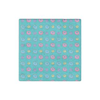 Turquoise donut pattern stone magnet