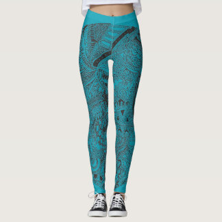 Turquoise doodle leggings