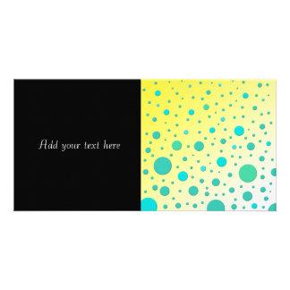 Turquoise Dots on Yellow Modern Design Custom Photo Card