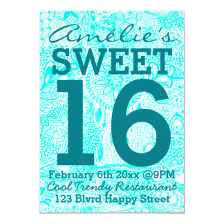 Turquoise dreamcatcher floral doodles Sweet 16 Card