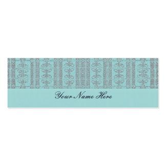 Turquoise Elegant Pattern Mini Business Card