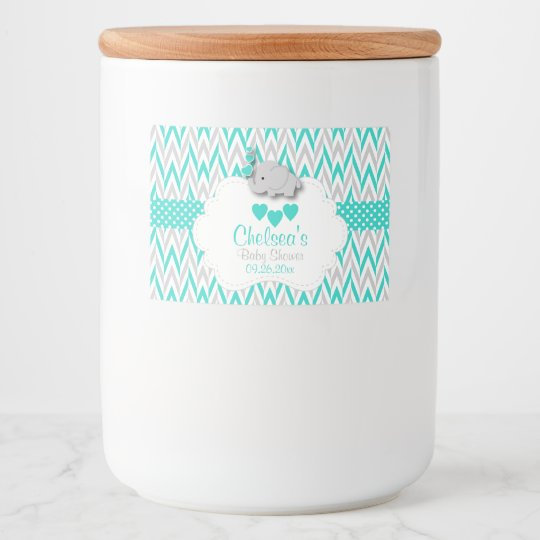 Turquoise Elephant Baby Shower Food Label