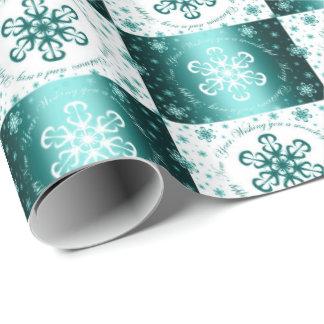 """Turquoise et blanc """"vous souhaitant Joyeux Noël"""" Papier Cadeau Noël"""