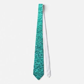 Turquoise faux glitter graphic tie