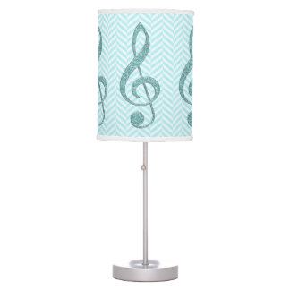 Turquoise Faux Glitter Treble Clef on Chevron Table Lamp
