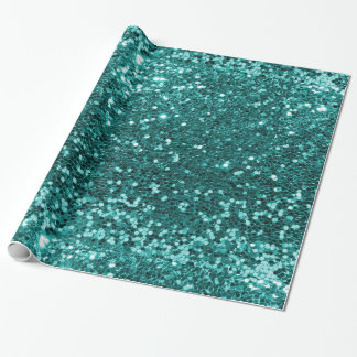 Turquoise Faux Glitter Wrapping Paper