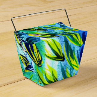 Turquoise Feather Watercolour Favor Gift Boxes