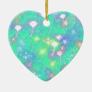Turquoise Fireworks Ceramic Heart Ornament