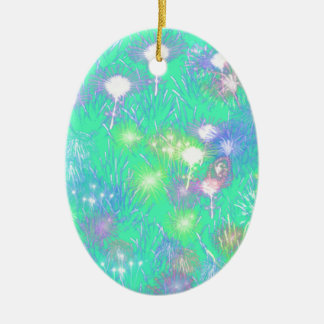 Turquoise Fireworks Ceramic Oval Ornament