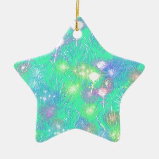 Turquoise Fireworks Ceramic Star Ornament