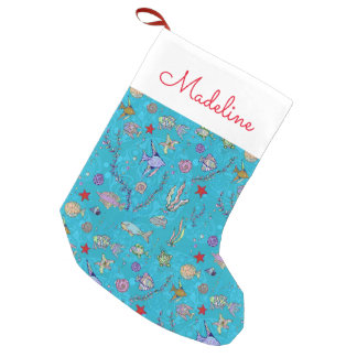 Turquoise Fish Pattern | Add Your Name Small Christmas Stocking