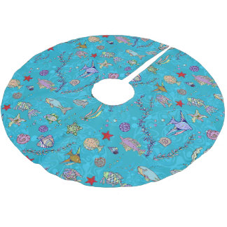 Turquoise Fish Pattern Brushed Polyester Tree Skirt