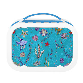 Turquoise Fish Pattern Lunch Boxes