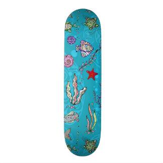 Turquoise Fish Pattern Skate Board