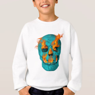 Turquoise Flaming Skullturq Sweatshirt