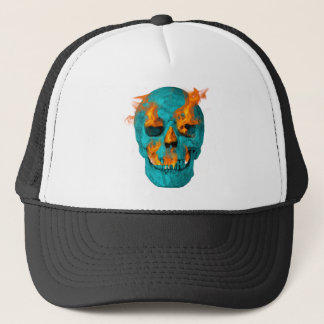 Turquoise Flaming Skullturq Trucker Hat
