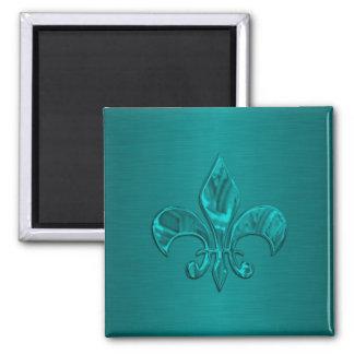 Turquoise Fleur de Lis Square Magnet