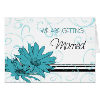 Turquoise Floral Engagement Announcement Card